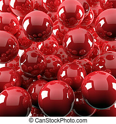 abstract background from bright red shiny balls