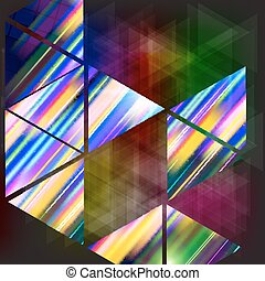 Abstract background-geometric composition with colored triangles.
