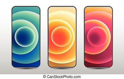Abstract Background, Graphic Design, Mobile Phone, Colourful Circle, screenshot,  smart phone, vector illustration.