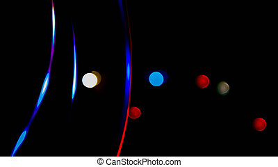 Abstract background, graphic drawings, bokeh in the form of lines and colored circles on a black background, computer graphics.