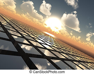 An abstract illustration background of a bright sunset with fluffy clouds over a cube array tech like grid horizon.