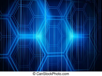 Abstract Background Hexagon - Concept with Light Effects, Vector Illustration