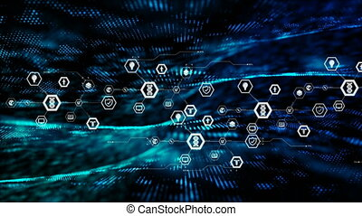 Abstract background icon on hexagon shape and particle moving on the dark for cyber futuristic concept with grain processed