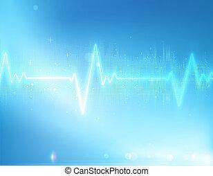 illustration of electrocardiogram line on blue soft background