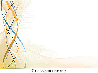 illustration of meshes curved lines and color splashes