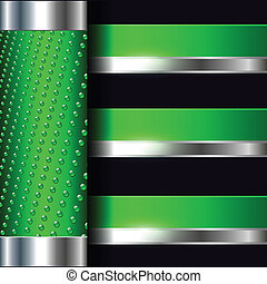 Abstract background elegant green with metallic banners,...