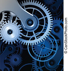 Abstract background with metallic gears, vector.