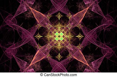 abstract background image in the form of an ornament from various geometric figures pink yellow and green on a black background