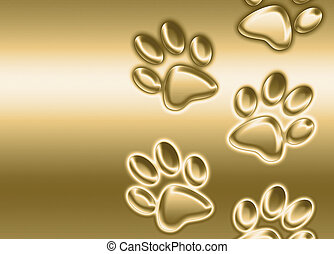golden paw prints - abstract background image of golden paw ...