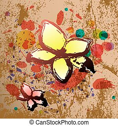 Abstract background in grunge style with flowers.