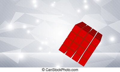 Abstract background in light grey and red cube
