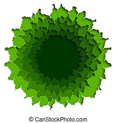 Abstract background in paper cut style. The green foliage of the tree. Art to create designs. Vector