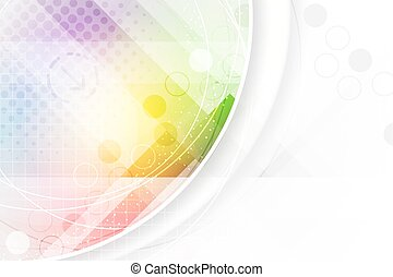 Abstract background in rainbow colors with circular elements and halftone effect.
