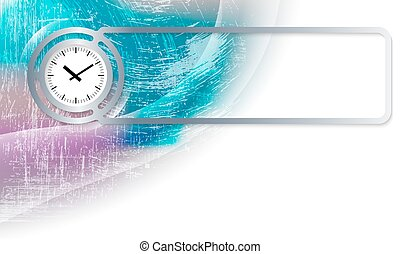 Abstract background in the corner and Vector frame with clock