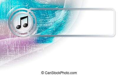 Abstract background in the corner and Vector frame with music symbol