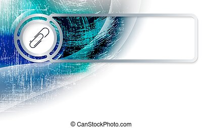 Abstract background in the corner and Vector frame with paper clip