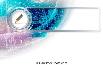Abstract background in the corner and Vector frame with pencil