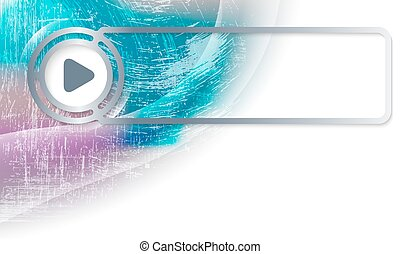 Abstract background in the corner and Vector frame with play symbol