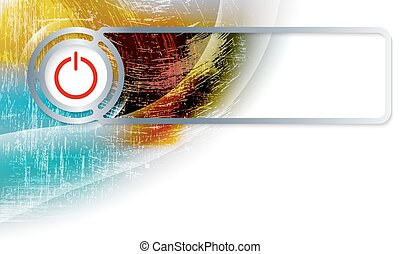 Abstract background in the corner and Vector frame with power button