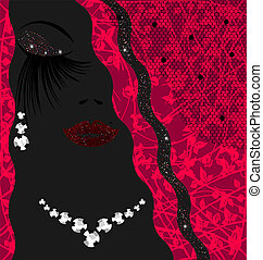 abstract outlines woman's face with jewelry earring and necklace
