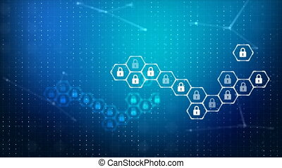 Abstract background lock and hexagon security icon for cyber...