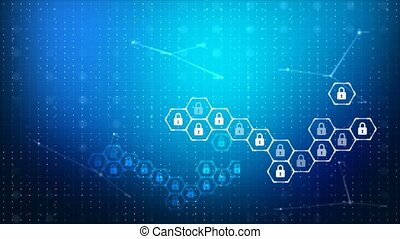 Abstract background lock and hexagon security icon for cyber technology futuristic concept over dark background with grain processed