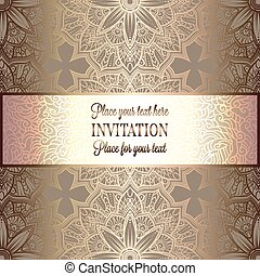 Abstract background , luxury beige and gold vintage frame, victorian banner, damask floral wallpaper ornaments, invitation card, baroque style booklet, fashion pattern, template for design