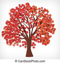 abstract background, maple tree with branches made of autumn leaves.