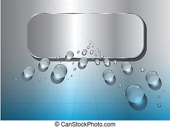 abstract background metallic blue with water drops, vector.