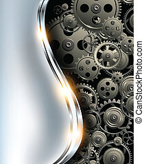 Abstract background metallic chrome silver with gears,...