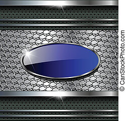 Abstract background metallic grey with blue button for text.