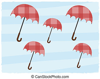 Abstract background multiple open umbrellas red