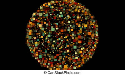 Abstract background of a sphere formed by colorful squares.