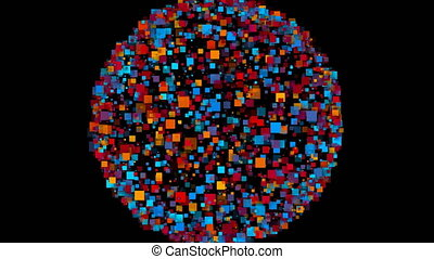 Abstract background of a sphere formed by colorful squares....