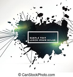 abstract background of black ink splatter with light effect