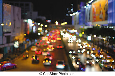 Abstract background of bokeh lights of traffic jam in the city