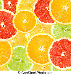 Abstract background of citrus slices. Close-up. Studio photography.