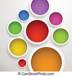 Abstract background of color circles. Template for a text