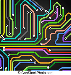 Abstract background of color metro lines with arrows