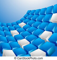 Abstract background of cubes in blue toned. Vector.