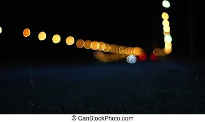 Abstract Background of Defocused Night Traffic Lights.