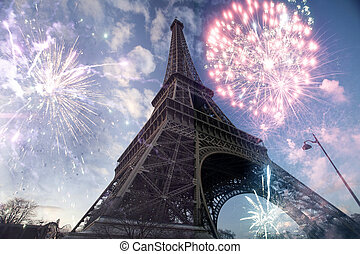 Abstract background of Eiffel tower with fireworks