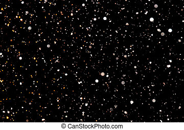 white snowflakes on a black background