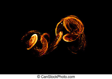 abstract background of flames, Take a picture from fire show on the beach at night.