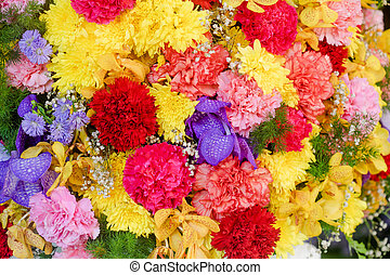 Abstract background of flowers. Close-up. Beautiful flowers background for wedding scene
