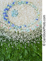 Abstract background of flowers. Close-up floral wedding backdrop
