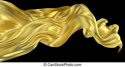 Beautiful golden wavy fabric with metal texture and varnished surface. Clean black background. Flowing element for graphic design. Little sparkles under a layer of varnish. 3d rendering image.