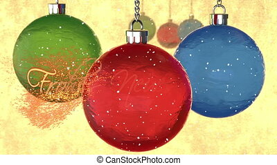"Abstract background of greeting card with animation of rotation 3d crystal tree toys, snow and appear text on german ""Frohes Neues Jahr!"" (Happy New Year!) christmas decoration. glass balls. gold."