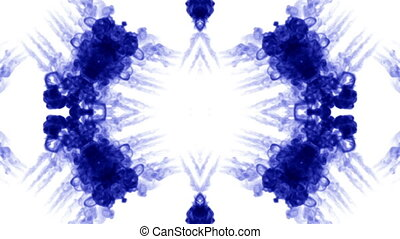 Abstract background of ink or smoke flows is kaleidoscope. Isolated on white in slow motion. Blue Ink fall in water. For alpha channel use luma matte as alpha mask
