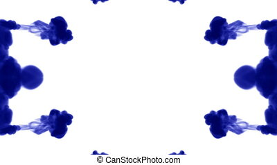 Abstract background of ink or smoke flows is kaleidoscope or Rorschach inkblot test8. Isolated on white in slow motion. Blue Ink open in water. For alpha channel use luma matte as alpha mask